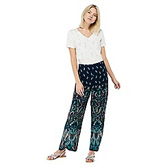 Monsoon - Blue 'Georgie' placement print trousers