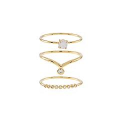 Accessorize - Metallic 3 x pretty stacking ring