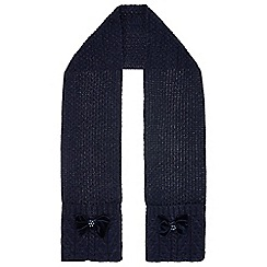 Monsoon - Girls' blue Ellie velvet rosette cable scarf