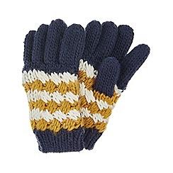 Monsoon - Boys' yellow jacob stripe gloves