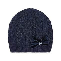 Monsoon - Girls' blue ellie velvet bow lurex cable beanie