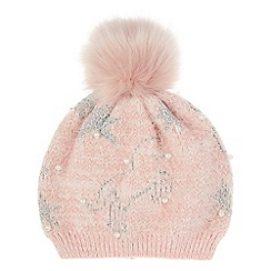 Monsoon - Girls' pink orla unicorn fur hat