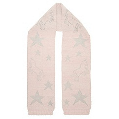 Monsoon - Girls pink orla unicorn fluffy scarf