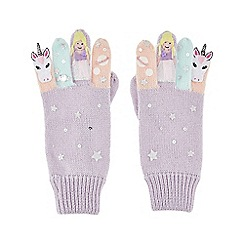 Monsoon - Girls' purple unicorn fairy novelty gloves