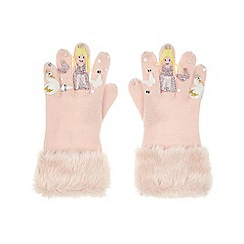 Monsoon - Girls' pink magical swan novelty gloves
