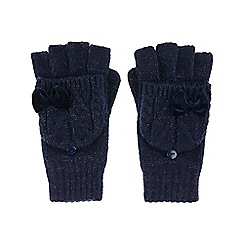 Monsoon - Girls' blue ellie velvet rosette cable capped glove