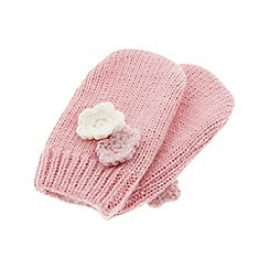 Monsoon - Girls pink kiera cat mittens
