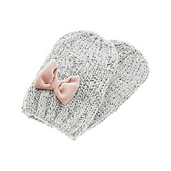 Monsoon - Girls grey abigail fluffy bow mittens