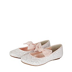 Monsoon - Girls' pink 'Bridget' glitter bow ballerina