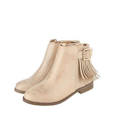 Monsoon - Girls' gold gabby shimmer tassel boots