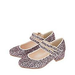 Monsoon - Girls' pink imogen glitter double strap jive shoe