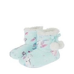 Monsoon - Girls blue 'Veronica' unicorn printed slipper boot