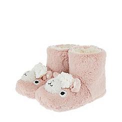 Monsoon - Girls pink 'Lisa' llama slipper boot