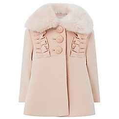 Monsoon - Baby girls' pink florence frill coat
