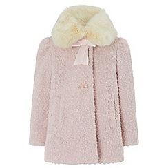 Monsoon - Girls pink 'Beatrice' boucle coat