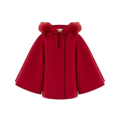 Monsoon   Girls' Red 'polly' Pom Pom Cape by Monsoon