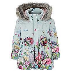 Monsoon - Baby girls' blue libby border print padded coat