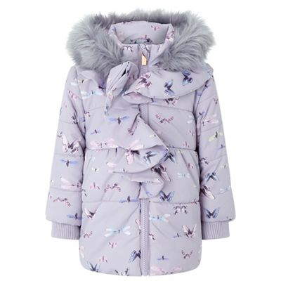 4c77da03a Monsoon Baby Purple Flutter Print Coat