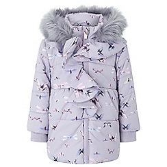 Monsoon - Girls purple flutter print coat