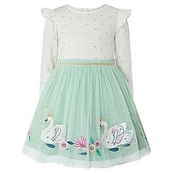 Monsoon - Baby girls' blue sadie disco swan dress