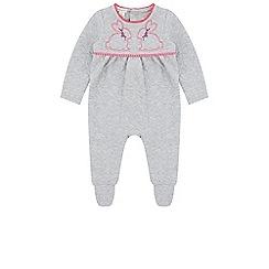 Monsoon - Girls grey baby bunny sleepsuit