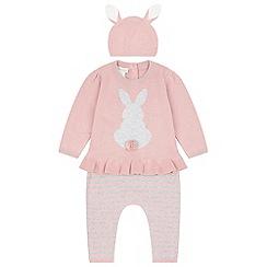 Monsoon - Baby girls' pink newborn 3 piece bunny knitted set
