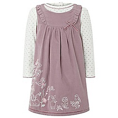 Monsoon - Girls purple baby 'Maddie' cord pinny dress
