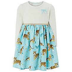 Monsoon - Girls' blue 'Esme' tiger 2 in 1 dress