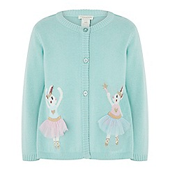 Monsoon - Baby girls' Green baby 'ballerina bunny' cardigan