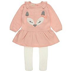 Monsoon - Baby girls' Pink new born baby felicity fox dress