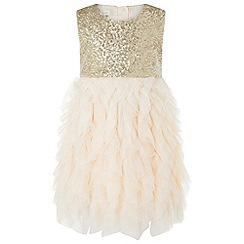 Monsoon - Girls' gold baby pompom dress