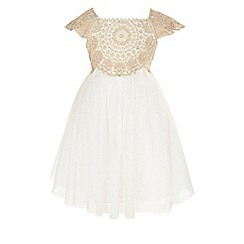 Monsoon - Baby Girls Gold Estella Sparkle Dress
