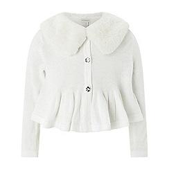 Monsoon - Girls' white baby liana fur cardigan