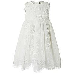 Monsoon - Baby girls' white flutter lace dress