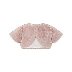 Monsoon - Girls' Pink 'Fifi' fur cardigan