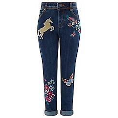 Monsoon - Girls' blue twinkle unicorn jeans