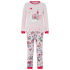 Monsoon - Girls pink baby 'Avery' swan  pyjama set