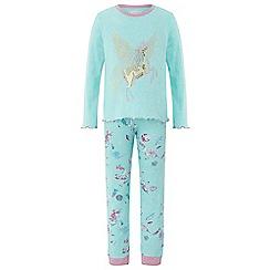 Monsoon - Girls blue 'Peggy' unicorn jersey pyjama set