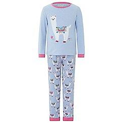 Monsoon - Girls blue 'Libby' llama jersey pyjama set