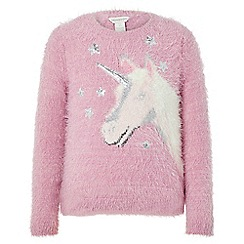 Monsoon - Girls' Pink unicorn fluffy jumper