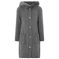 Monsoon - Girls' Grey 'kaila' hooded longline cardigan