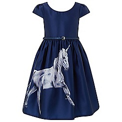 Monsoon - Girls' Blue 'Luniara' unicorn dress