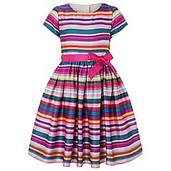 Monsoon - Girls' Multicoloured ribbon stripe dress