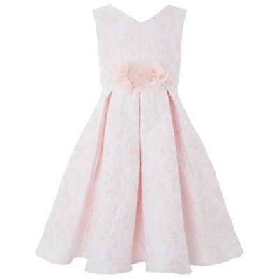 Monsoon   Girls' Pink Arabella Jacquard Dress by Monsoon