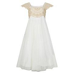 Monsoon - Girls gold 'Estella' sparkle dress