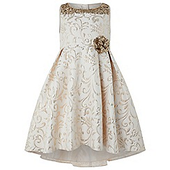 Monsoon - Girls Gold Consuela Jacquard Dress