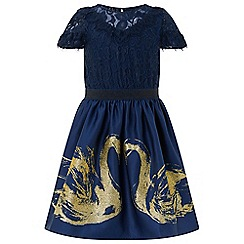 Monsoon - Girls' blue glitter sparkle swan 2 in 1 dress