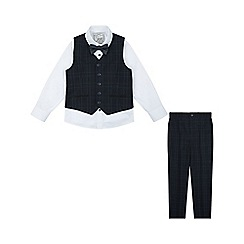 Monsoon - Boys' black 'ryan' check complete waistcoat set