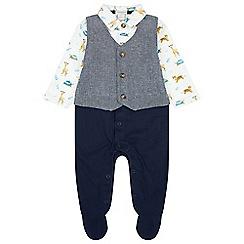 Monsoon - Baby boys' blue newborn jungle waistcoat set