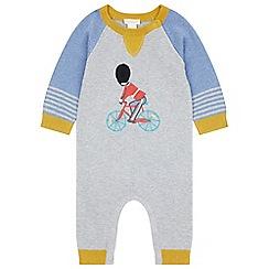 Monsoon - Baby boys' grey newborn London bike knitted sleepsuit